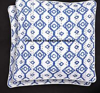 2PC Indian Ikat Kantha Cushion Cover Outdoor Cushions 16X16 Throw Ethnic Pillows