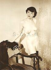Original Vintage 1940s-50s Nude RP- Endowed- Stockings- Standing By Old Chair