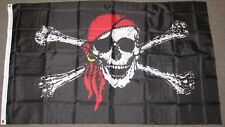 Dmse 3'X5' Foot Jolly Roger Pirate Surrender the Booty Pirate Red Bandanna Flag