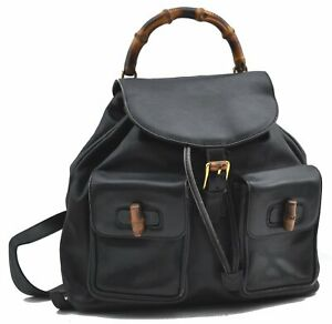 Authentic GUCCI Bamboo Backpack Leather Black E2689