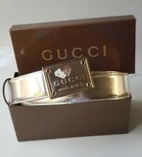 "GUCCI belt silver mirror leather Made in Italy Crest LOGO BUCKLE 100 cm 40"" new"