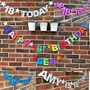 Personalised 18th Birthday banner Happy 18th birthday bunting LOOK WHOS 18 TODAY