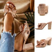 Ladies Bow-Knot Peep Toe Party Mules Sandals Women High Block Heels Bridal Shoes