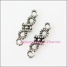 40Pcs Antiqued Silver Tone Tiny Flower Charms Pendants Connectors 5x16mm