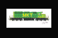 "Missouri-Kansas-Texas SD40-2 #618 11""x17"" Matted Print by Andy Fletcher signed"