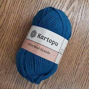 Kartopu Elite Wool Grande 5 x100g 49% wool Super Chunky colour K1467 blue