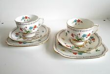 VINTAGE CROWN ROSYLN CHINA CUP SAUCER & CAKE PLATE  SET OF SIX