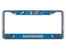 Dachshund Dog I paw Chrome Metal License Plate Frame Tag Border
