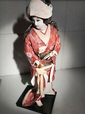 BEAUTIFUL VINTAGE SILK doll Japanese Geisha Large 17 pouces's with Fan