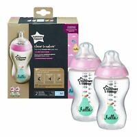 *** NEW Tommee Tippee 2X 340ML pink Baby Feeding Bottles 0m*** Box Damage