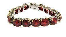 Red Garnet Cushion Cubic Zirconia 2 Two-Tone CZ Tennis Bracelet 15mm Stones