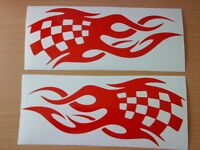 """2 LARGE 23"""" car bonnet side stickers racing flags flames vinyl decals graphics"""