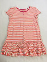 Lands End L 14 + Orange White Stripe Pink Trim Ruffle Hem Dress Short Sleeve