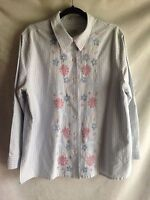 "CLASSIC ELEMENTS Embroidered Top Blouse Striped Shirt Women's Bust 46"" No Tags"