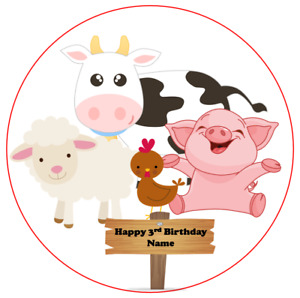 Farm yard animals cake topper edible icing Wafer personalised 7.5 6.5 5.5 inch