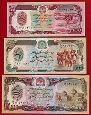 Afghanistan P-58, P-60, P-61 Years 1979-1990 Uncirculated Banknotes Set #2