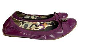 Coach Patent Leather Ballet Flats Shoes Purple Plum Buckle Size 8.5