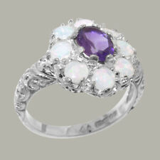 Solid 925 Sterling Silver Natural Amethyst, Opal Cluster Ring-Sizes 4 to 12