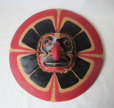 Cedar Carving Hand Painted Sun Mask Northwest Coast Kwaak Signed W/S Tuifua