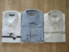 Lot of 3 NEW men's dress shirts size 17 32/33 long sleeve button down white blue