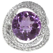 Amethyst Round and White Topaz Gemstone Wrap Sterling Silver UK Ring size M