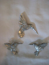 MAURICE MILLEUR FINE PEWTER HUMMINGBIRD PIN AND EARRING SET