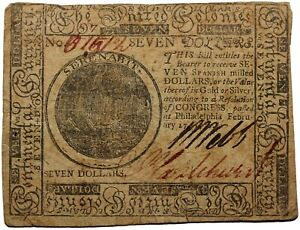 United States Continental Currency February 1776 Seven Dollars Note $7 CC-29