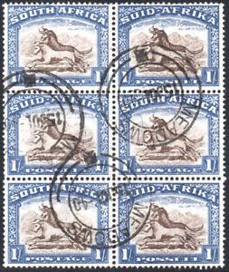 South Africa 1933-48 1s block of 6, SG.62, VFU O.F.S. MEADOWS postmark, cat.£54
