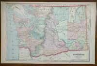 "Vintage 1903 WASHINGTON Map 22""x14"" ~ Old Antique KALAMA STEVENSON VANCOUVER"