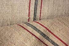 Grain sack grainsack fabric vintage linen upholstery Hemp red Gray blue 9.7Y