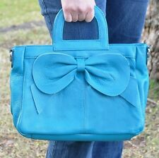 Women's Genuine Leather Handbag Tote Satchel Bag great for IPAD Blue, Tan, Pink