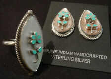 Zuni Vintage Earrings & Ring Set Signed RTL Sterling Silver with Turquoise
