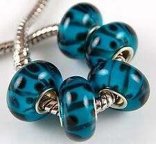5pcs Aquamarine Black Big Hole Lampwork Glass Beads Fit European Charm Bracelet