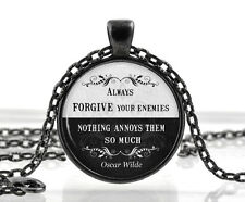 Oscar Wilde Quote Necklace - Black and White Pendant Poetry Gifts for Women