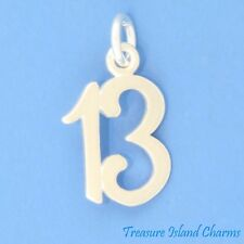 LUCKY NUMBER 13 13TH BIRTHDAY ANNIVERSARY .925 Sterling Silver Charm Pendant