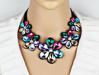Women Fashion Crystal Flower Novelty Choker Chunky Statement Bib Chain Necklace