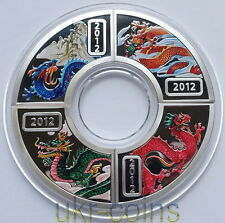 2012 Cook Islands Lunar Year of the Dragon 4x1/2 Oz Silver Proof Coin Color Set