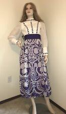 Vtg 1960s Deadstock AngelAir Mod purple Print Maxi Dress Long Sleeves Size 4