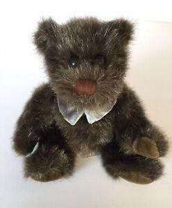 """Dakin Applause Teddy Bear Dark Brown  6"""" Authentic Genuine Bow Tie Vtg Plush Toy"""