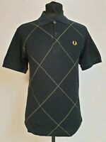 """MENS FRED PERRY BLACK YELLOW DIAMOND S/SLEEVE COTTON PIQUE POLO T-SHIRT UK S 36"""""""