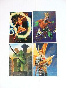 1994 DC MASTER SERIES INSERT FOIL 4 CARD SET F1-F4! WONDER WOMAN AQUAMAN ARROW!