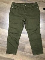 Chicos Sz 2.5p So Slimming Girlfriend Green Ankle Jeans Pant Green