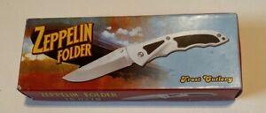 """Frost Cutlery Zeppelin Folder Knife 18-027B 5"""" Stainless Blade"""
