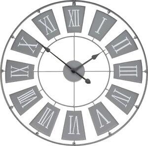 Moderne XXL Wanduhr Metall Uhr Wohnzimmeruhr Vintage Antik Design Ø 70cm Grey Ne