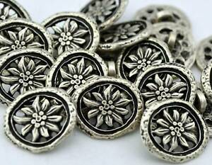 """Olivia Buttons Antique Silver OVAL Flower Metal 5/8"""" 15mm Qty 4"""