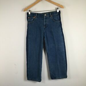Balenciaga Paris womens denim pants jeans size 34 W29 inch blue wide leg 28.0009