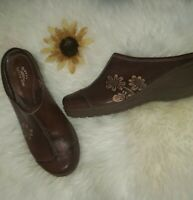 Womens Spring Step Shoes Adrina Brown Sz US 9 EURO 39 Clog Wedge Leather Slip On