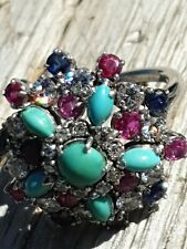 (Boucheron) 18ct Gold Diamond,Ruby,Sapphire And Turquoise Amazing Cocktail Ring