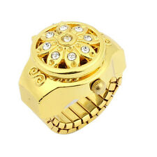 Round Dial Crystal Flower Decor Elastic Band Finger Ring Watch Gold Tone fo 13HE