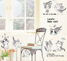 Cheeky Cats Wall Art Stickers Removable Kids Nursery Vinyl Decal Decor Bed DIY